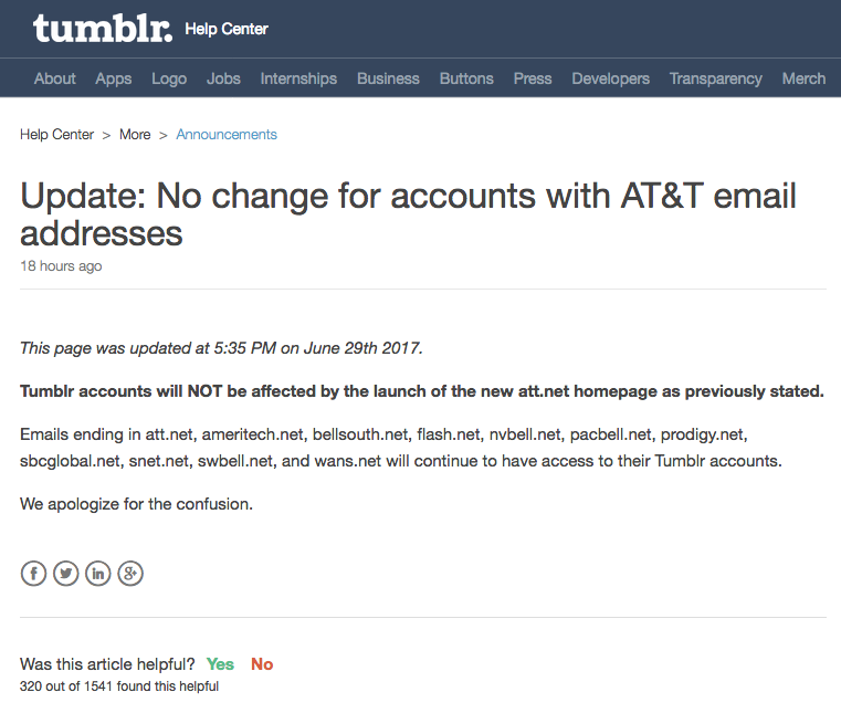 """Mise à jour du """"help center"""" de Tumblr après l'annonce erronée"""