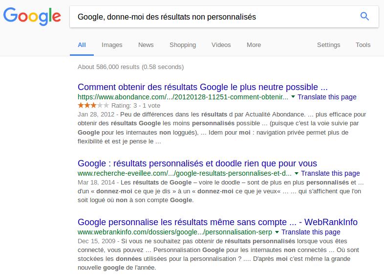 Résultats personnalisés de Google