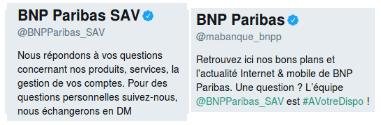 Deux comptes Twitter de la BNP : l'un consacré à la communication institutionnelle et l'autre au SAV.