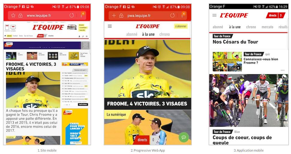Le journal L'Équipe est le premier média à avoir lancé sa progressive web app.