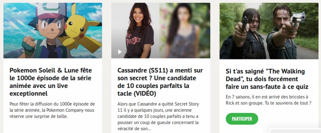 Référencement : home page du site Melty.fr, zoom sur les articles payés