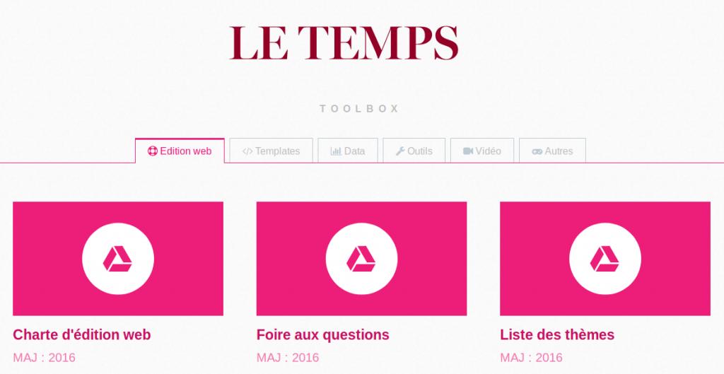 La home page de la boîte à outils d'édition numérique du journal suisse Le Temps.