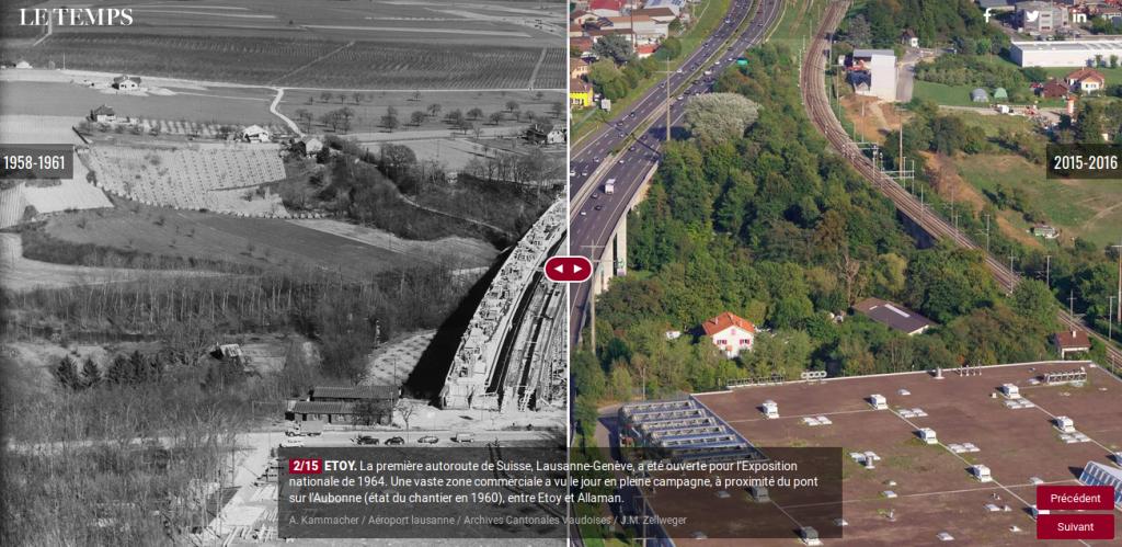 """Un exemple de """"slider"""" avant / après du journal Le Temps. Ici, ce format montre l'évolution urbanistique d'un canton suisse."""