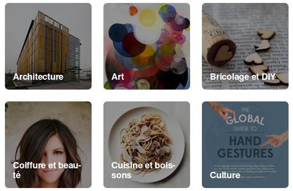 Des thématiques abordées sur Pinterest, représentées par des images : architecture, cuisine et boissons, culture...