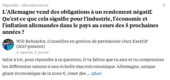 Illustration d'une question / réponse sur Quora : un internaute pose une question concernant l'émission d'obligations financières de l'Allemagne.