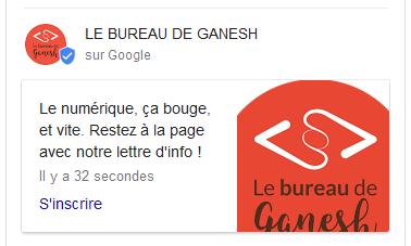 google posts - exemple le bureau de ganesh