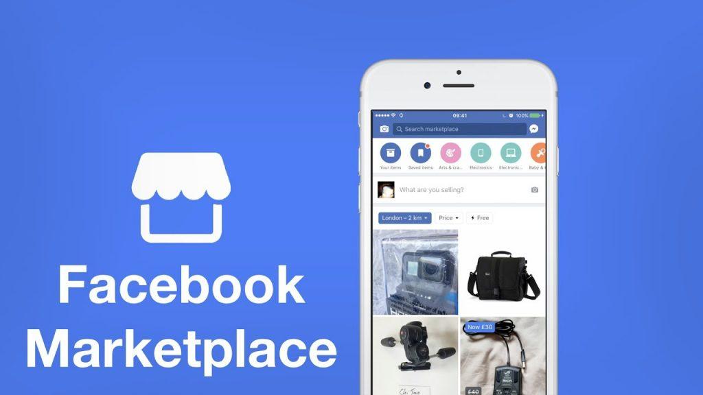 """Un visuel présentant le """"market place"""" de Facebook : un smartphone connecté sur le Facebook market place avec des produits présentés."""