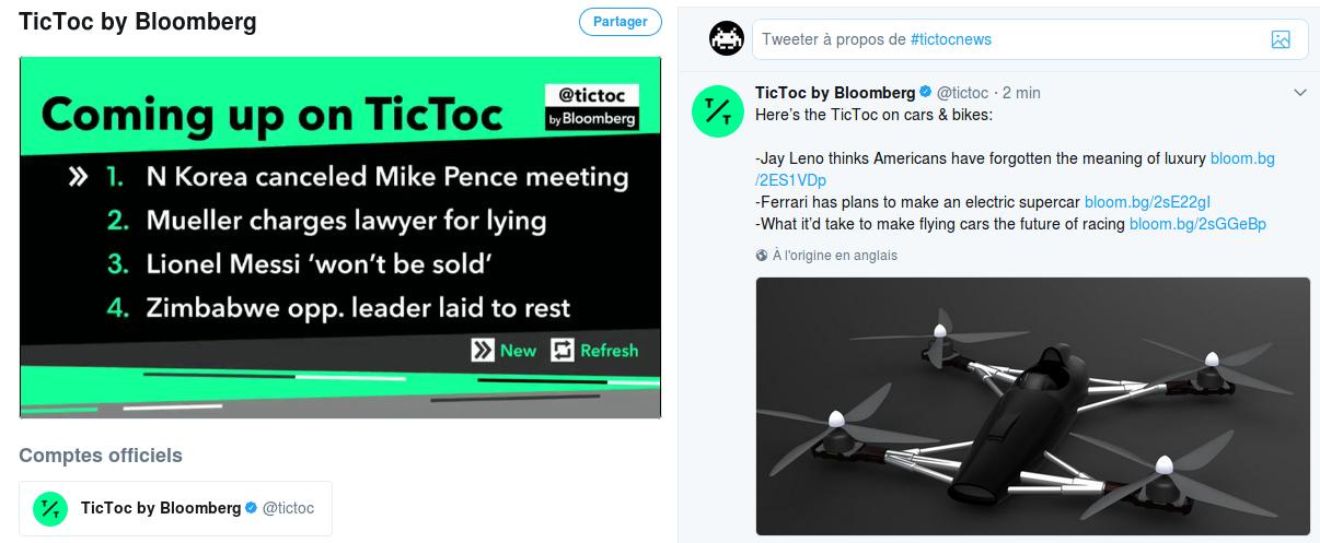 Une capture d'écran du flux vidéo de Bloomberg. A gauche, la vidéo en continu. A droite, le flux Twitter de TicToc, la WebTV Twitter de Bloomberg.