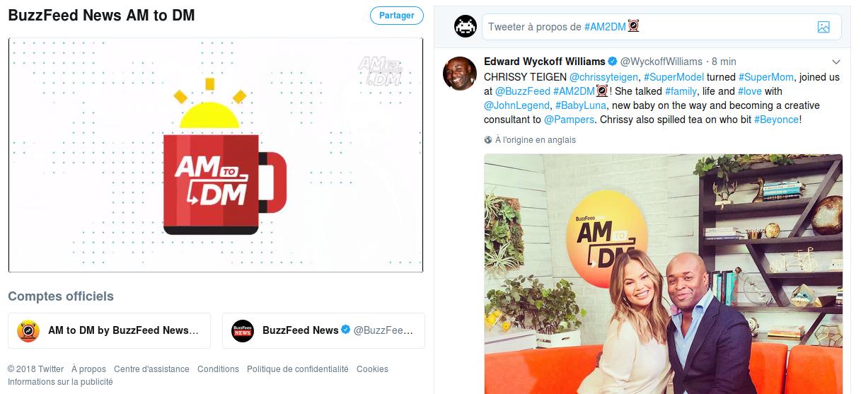 """Capture d'écran du flux vidéo de l'émission Twitter de Buzzfeed : """"AM to DM"""""""