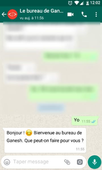 discussion whatsapp - le bureau de ganesh