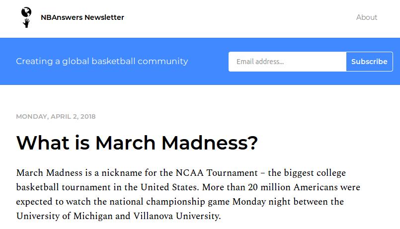 """Capture d'écran d'une lettre d'informations payante, """"NBAnswers"""", consacrée au basket-ball"""