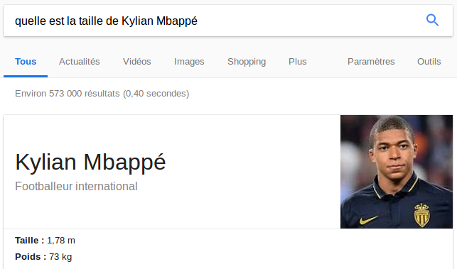 Capture d'écran d'une réponse de Google à une question simple.