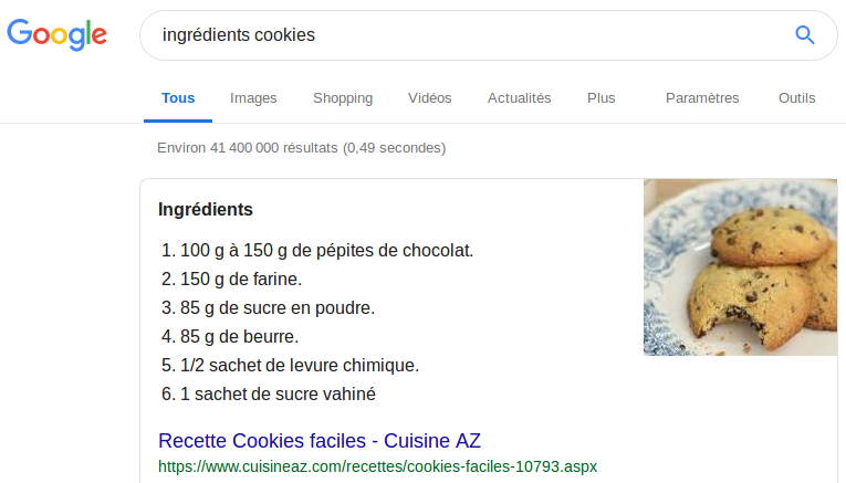 Un exemple de ce que donne les balises de données structurées : un extrait d'une page web expliquant comment cuisiner des cookies.
