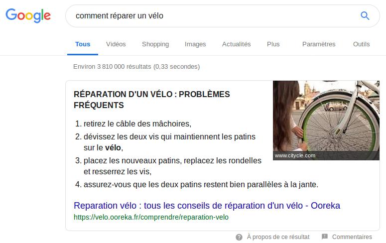 """Un extrait optimisé d'une page web : à la requête """"comment réparer un vélo"""", Google présente, directement dans ses résultat, un extait d'une page web censée répondre au besoin de l'internaute."""