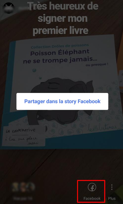 Capture d'écran du cross-postage d'Instagram vers Facebook. Cette fonctionnalité d'Instagram facilite le processus de publication de stories Facebook.