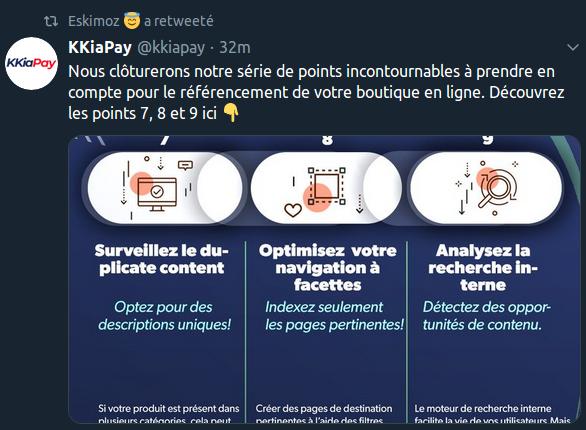 Un contenu sur Twitter de marque spécialisée dans le référencement de contenus sur le web.