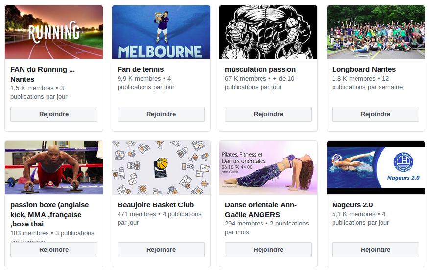 Un exemple de groupes Facebook consacrés au sport.