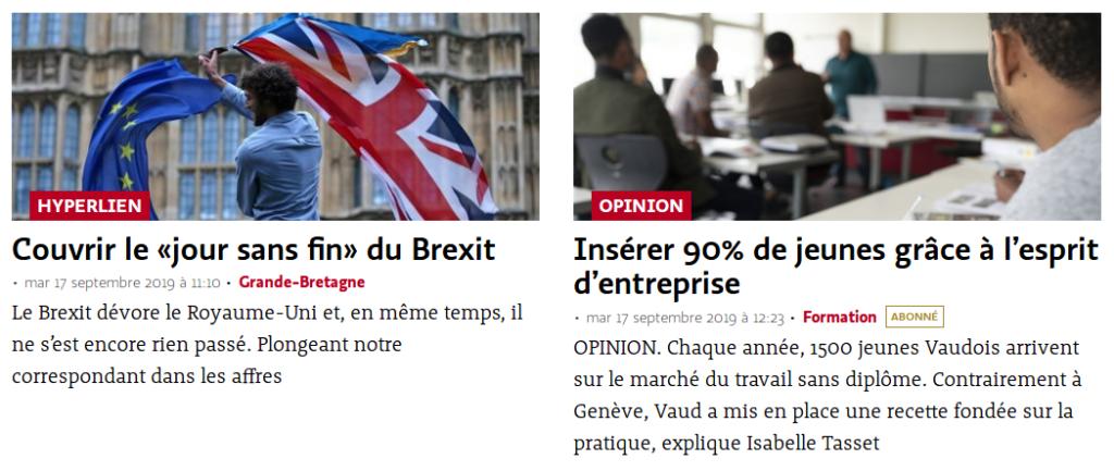 Stratégie de contenus : Le Temps publie en Une de son site web des articles qui nourrissent différents objectifs du journal.