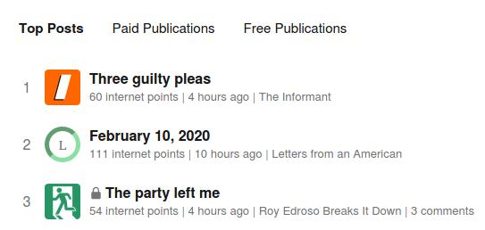 Page d'accueil du service Substack, qui montre les newsletters payantes et les newsletters gratuites.