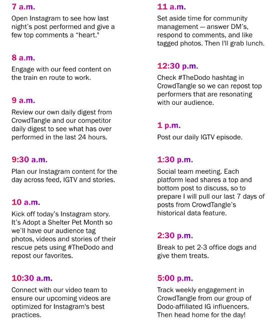 Journée type de la community manager de The dodo. De 7h à 17h, la CM de la marque travaille sur et pour Instagram.